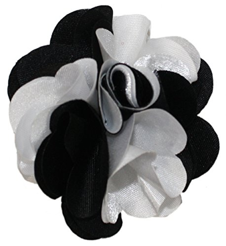 Ted and Jack - Classic Repp Two Tone Silky Flower Lapel Pin Boutonniere in Black & White