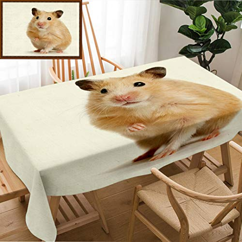 Skocici Unique Custom Design Cotton and Linen Blend Tablecloth Hamster with The Lifted Pad On A White BackgroundTablecovers for Rectangle Tables, 78