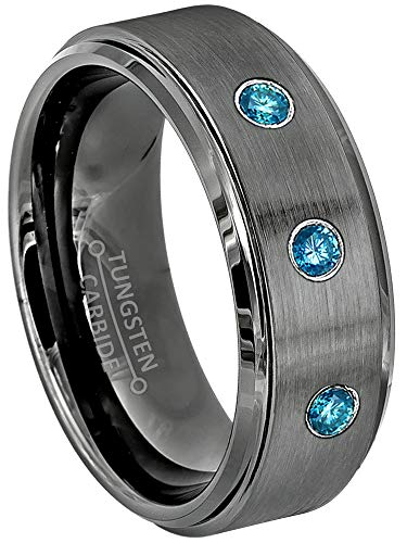 Jewelry Avalanche 0.21ctw Blue Diamond 3-Stone Mens Tungsten Ring - April Birthstone Ring - 8MM Brushed Gunmetal (Dark Gray) Mens Tungsten Carbide Wedding Band, Anniversary Ring - 8.5