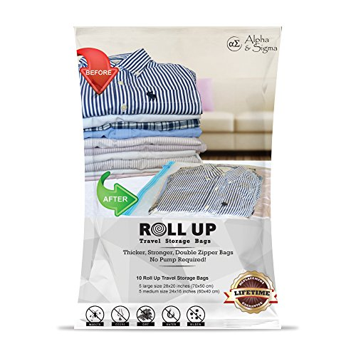 Alpha & Sigma Space Saver Roll Up Storage Bags 10 Pieces M,L Sizes | Practical & Reusable Compression Bags With Ziplock | For Garments, Baby Clothes, Suitcases, Traveling, Underbed, Beddings & More (Zip Lock Bags For Clothes)