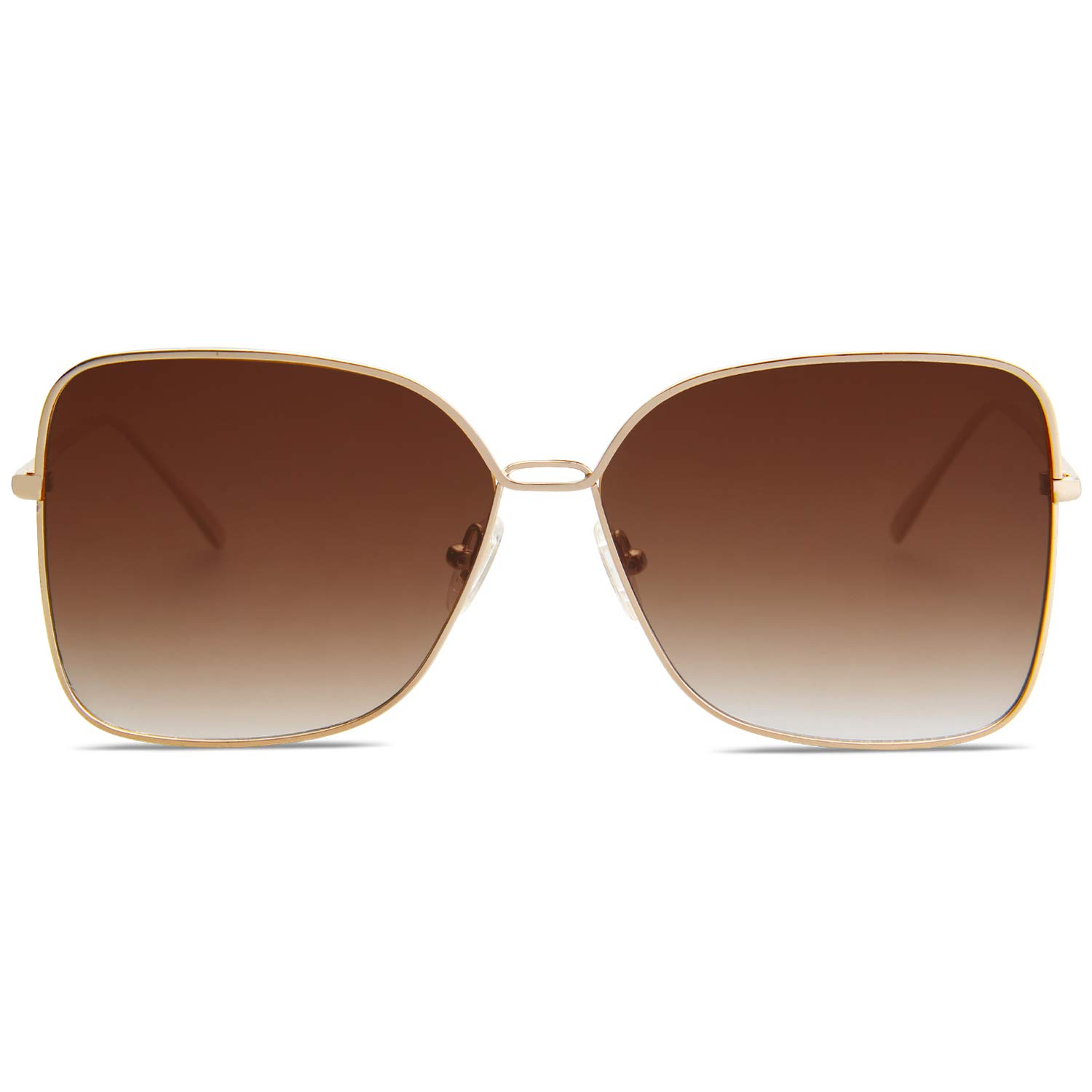 SOJOS Fashion Designer Square Sunglasses for Women Flat Mirrored Lens SJ1082 with Gold Frame/Gradient Brown Lens by SOJOS