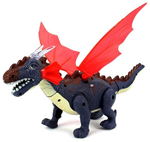 Dino Valley Winged Dragon Battery Operated Walking Toy Dinosaur Figure w/ Realistic Movement, Eyes & Wings Light Up by Velocity (Velocity Wing)