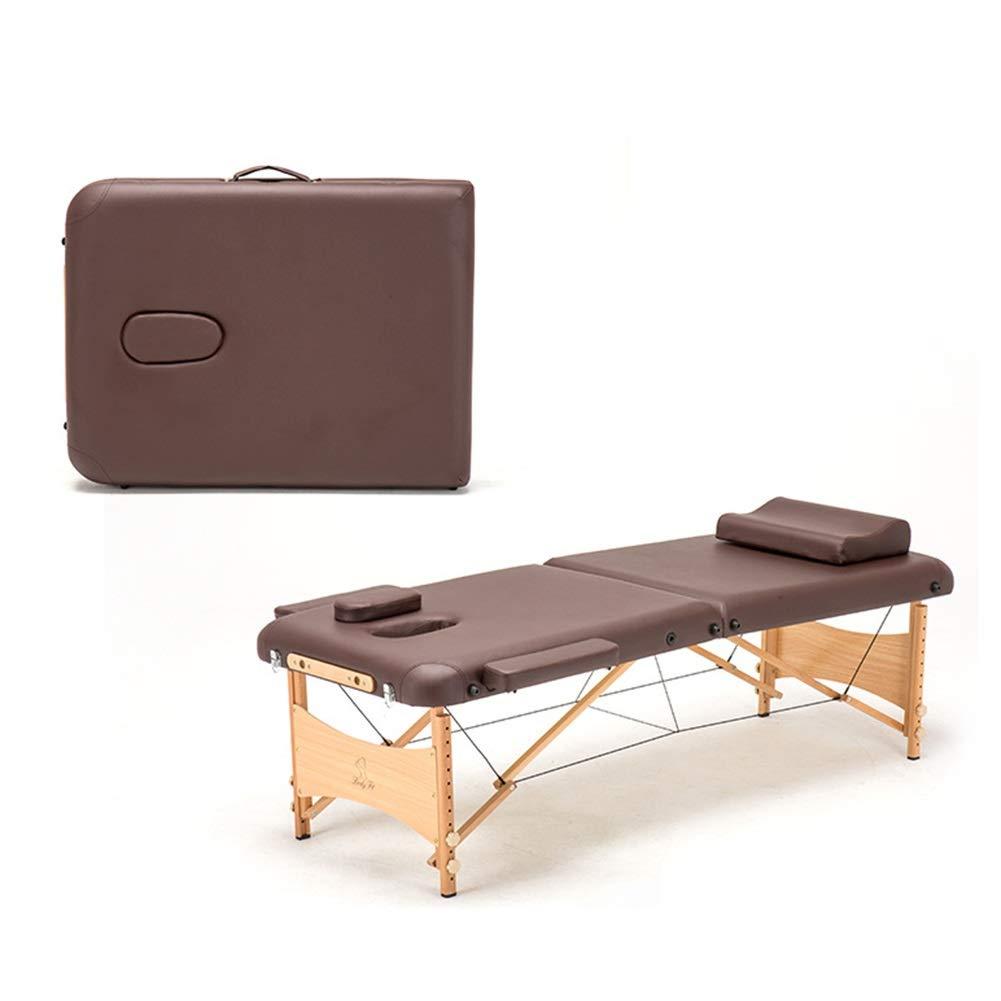 マッサージテーブルベッドソファデラックスプロフェッショナル2セクションポータブルベッド木製脚付きキャリングバッグとアクセサリー一式 (Color : Brown) B07T34TQXY Brown