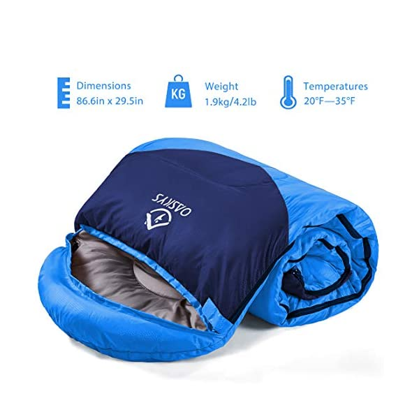 oaskys Camping Sleeping Bag - All Season Warm & Cool Weather - Summer, Spring, Fall, Winter, Lightweight, Waterproof for Adults & Kids - Camping Gear Equipment, Traveling, and Outdoors 7