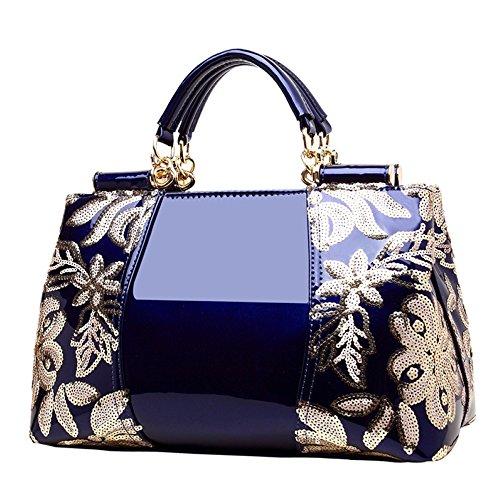 Mesdames Sac à Faux Fourre YUHEQI Bandoulière Womens Darkblue Designer Handbags tout Cuir élégant TxxzEq