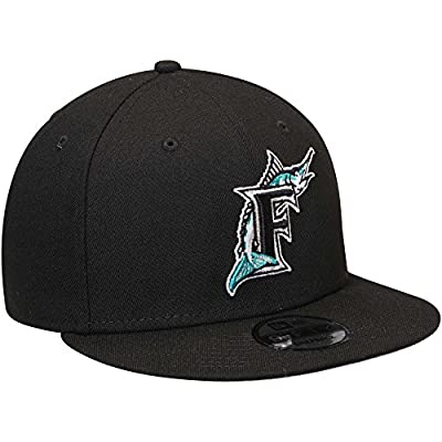 New Era Authentic MLB Florida Marlins Black Team Color 9FIFTY Adjustable Hat- OSFM