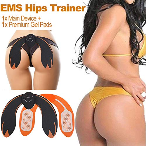 EMS Hips Trainer and Butt Toner, AAA Battery Electrical Body Beauty Massager for Women Buttocks Lifting Shape and Firm (AAA Battery Black and Yellow)