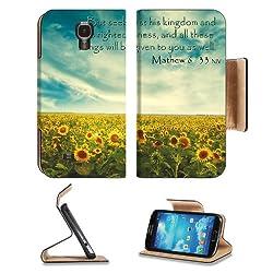 Sunflower Field Nature Kingdom Mathew Samsung Galaxy S4 Flip Cover Case with Card Holder