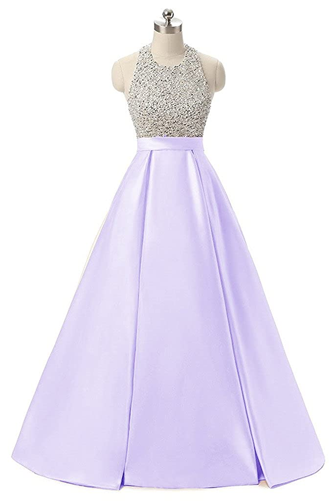 Lavender APXPF Women's Long Beaded Halter Formal Prom Dress Evening Party Gown