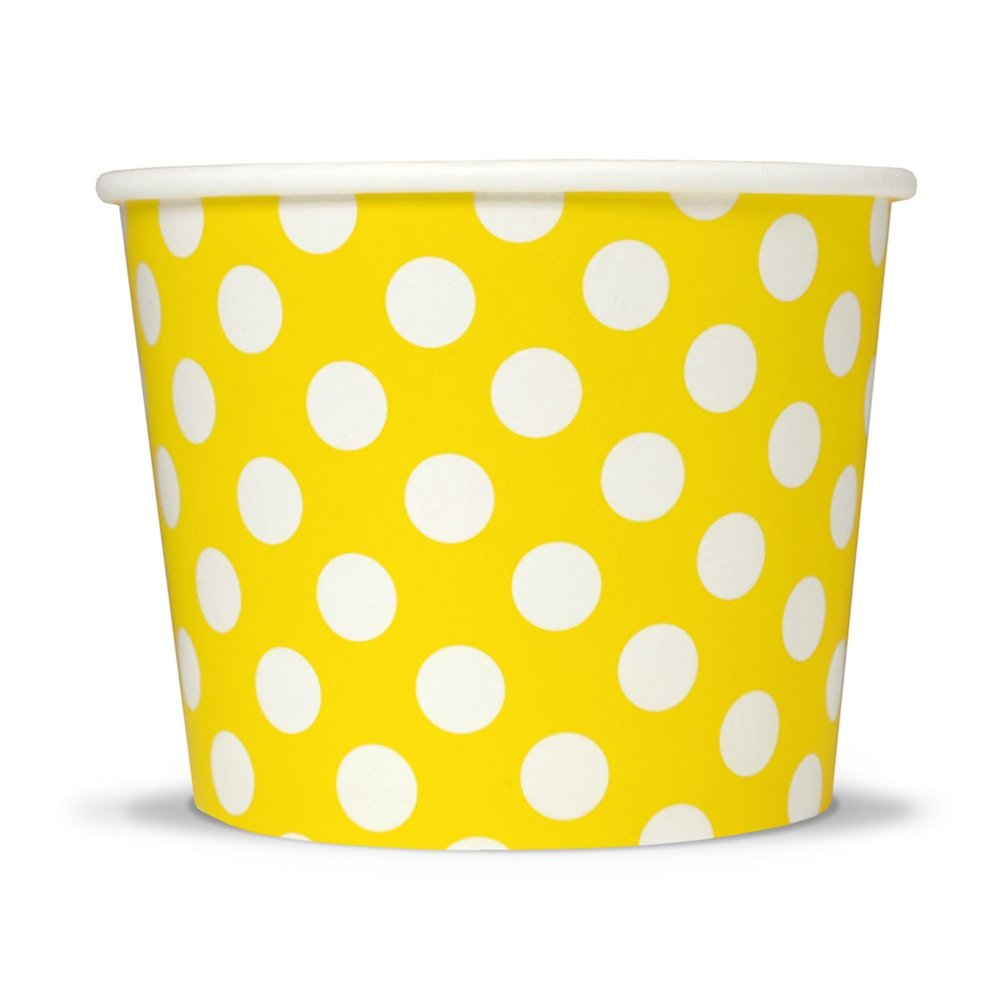 Yellow Paper Ice Cream Cups - 16 oz Polka Dotty Disposable Bowls - Comes In Many Colors With Fast Shipping! Frozen Dessert Supplies - 1,000 Count