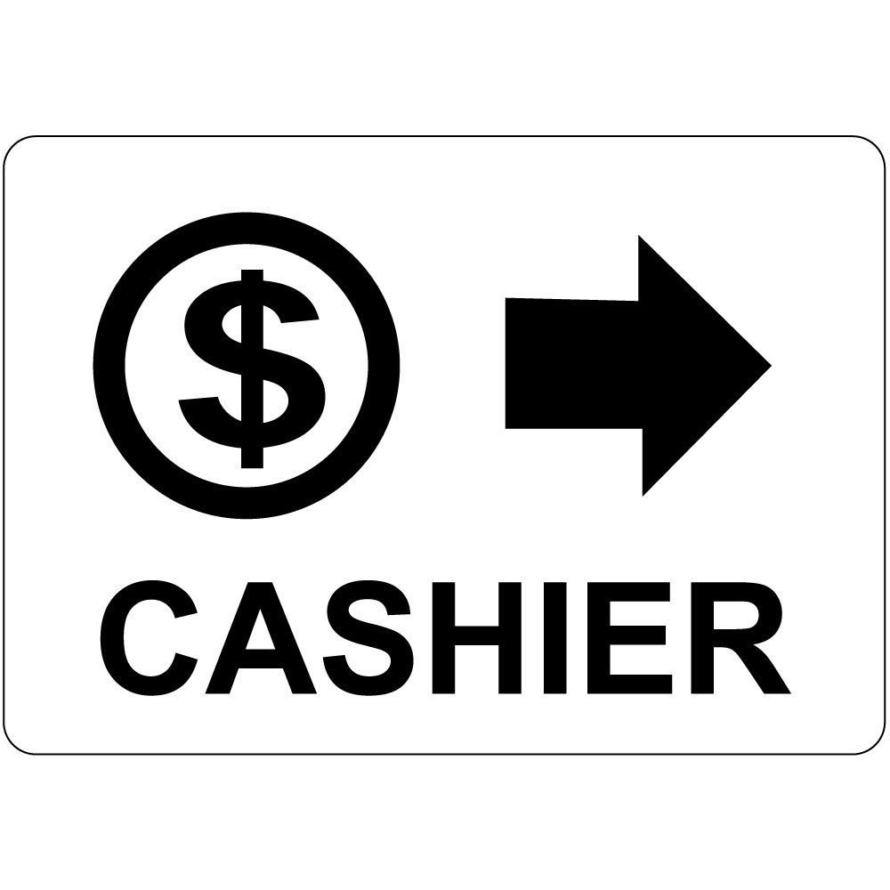 Cashier Black On White W Symbol Right Arrow LABEL DECAL STICKER Sticks to Any Surface 10x7