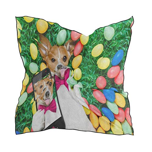 Silk Scarf Easter Bunny Dog Egg Square Headscarf 23 x 23 inches for Women/Girls