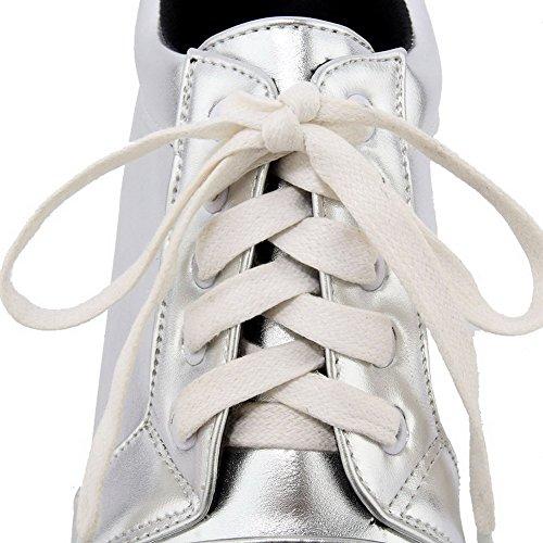 Légeres Agoolar Haut À Unie Souple Rond Femme Couleur Talon Argent Matière Lacet Chaussures qII1gPwr