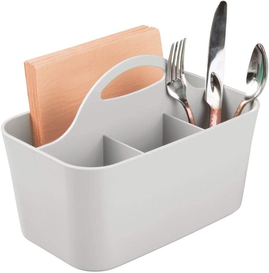 Portaposate da tavolo o da ripiano Contenitore posate in plastica con manico in legno mDesign Organizer cucina con 4 scomparti bianco//naturale