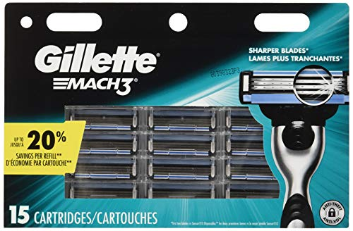 Gillette Mach3 Men's Razor Blades, 15 Blade Refills (Men Shaving Gel Cartridges)