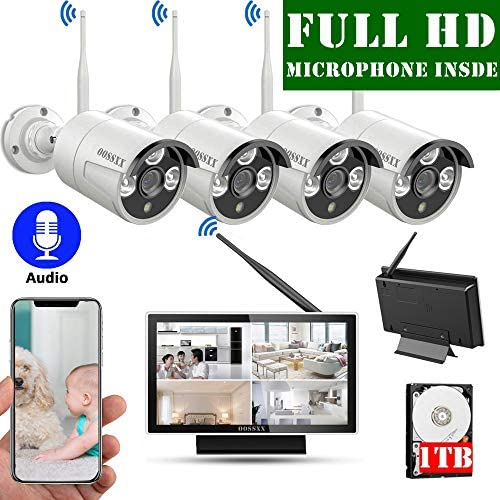 Expandable 8CH Audio Wireless Home Security Camera Systems Outdoor With 10inch Screen Monitor,Wireless Complete Video Surveillance Camera System with Hard Drive,4pcs Wireless Weatherproof Cameras