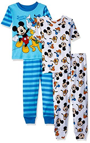 Disney Toddler Boys' Mickey Mouse 4-Piece Cotton Pajama Set, Blue Squad, (Mickey Mouse Pajamas)