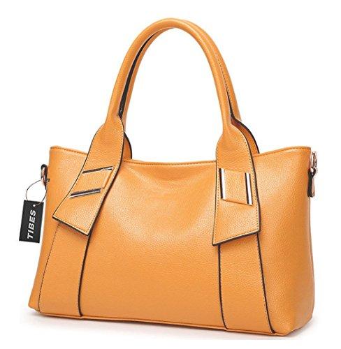Tibes bandolera de cuero bandolera mujer bolsa grande Amarillo