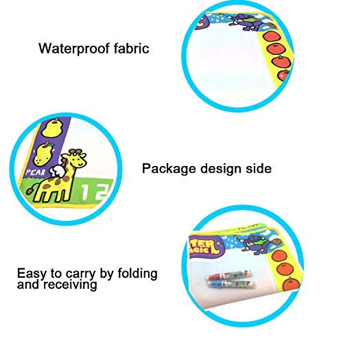AR Products Magic Water Painting Doodle Large Mat for Kids Toddler Boys Girls Educational Learning Pad with Pens Molds Drawing Booklet Gift for Ages 2,3,4,5,6 Year Old