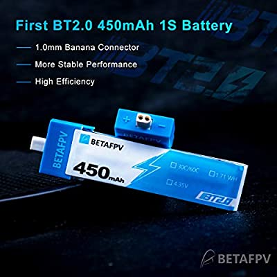 BETAFPV 4pcs BT2.0 450mAh 1S Battery 4.35V 30C/60C FPV Lipo with BT2.0 Connector for FPV Tiny Whoop 1S Brushless Whoop Drone Like Meteor75 Tinyhawk: Toys & Games