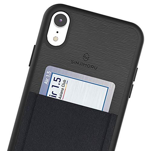 Sinjimoru iPhone XR case with Card Holder, Slim Card Wallet case. Sinji Pouch Case for iPhone XR, Black