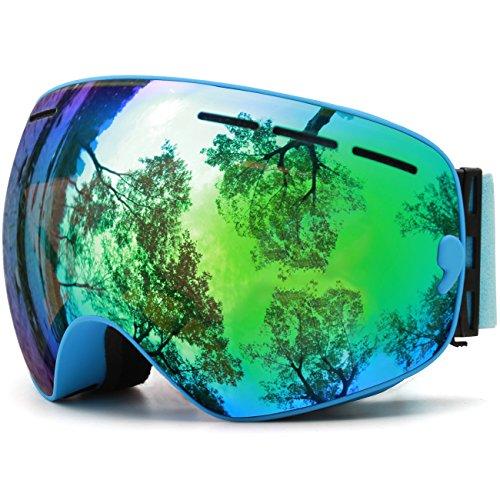 JULI OTG Ski Goggles,FramelessOverGlassesSkiing SnowGogglesforMenWomen&Youth-100%UVProtectionDualLens(BlueFrame+VLT18%BrownLenwithREVOGreen)