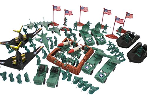 100 Pieces Army Military Soldiers Set with Missiles Trucks Jeeps - Set Military