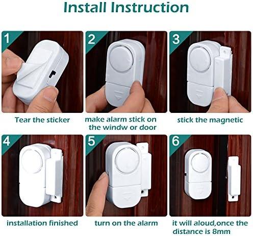 marca Senweit minialarmas inal/ámbricas con sensor de entrada de infrarrojos bater/ía incluida Juego de 8 detectores magn/éticos de seguridad para puerta y ventana color blanco
