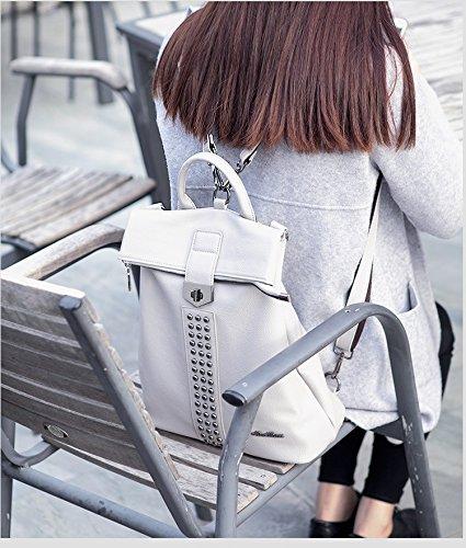 dos sac PU Épaule Sac bandoulière à double à cuir souple à main à à sac Gray Rivet Sac sac capacité en Femmes dos grande bandoulière usage nOP58xqpwE