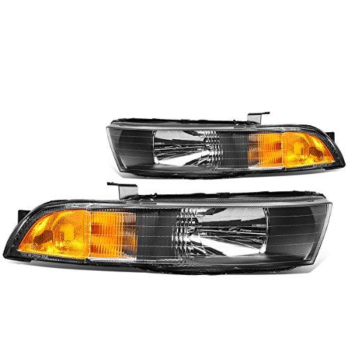 DNA Motoring Amber HL-OH-068-BK-AM Black Housing Headlights [99-03 Mitsubishi ()