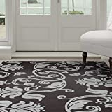 Lavish Home Floral Scroll Area Rug, 3'3″ by 5′, Brown/Blue