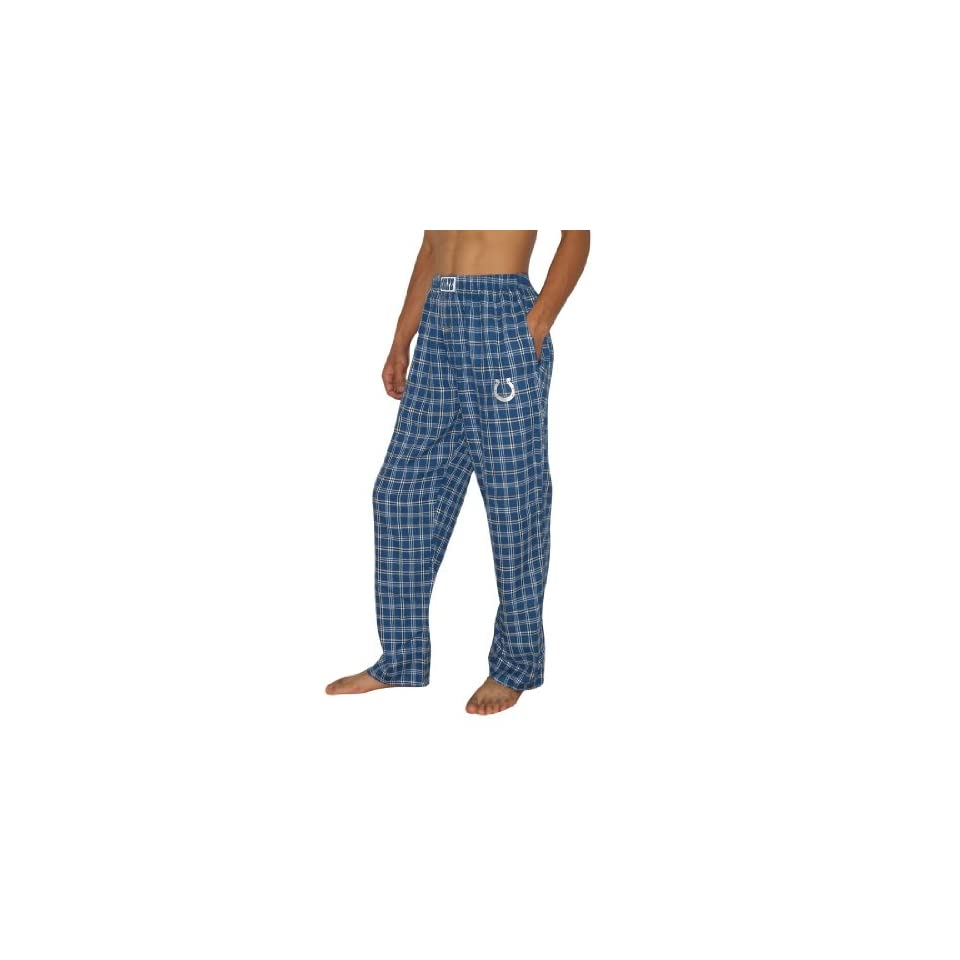 Mens NFL Indianapolis Colts Plaid Cotton Thermal Sleepwear / Pajama Pants   Blue & White (Size XL)