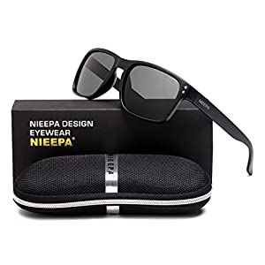 Square Polarized Wayfarer Sunglasses Retro Classic Stylish Brand Design Sports Sun Glasses for Men Women Vintage Driving Fishing 100% UV Protection Glasses (Grey Lens/Matte Black Frame)