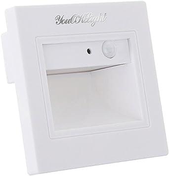 ledmomo étape escaleras puente LED luz Sensor de movimiento Footlight cuadrado aplique para escalera, paso Coin (color blanco): Amazon.es: Iluminación