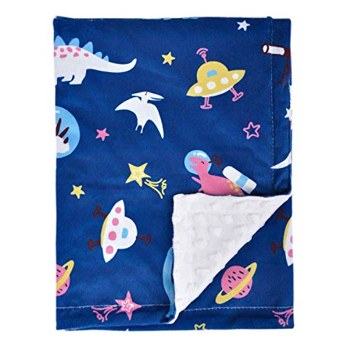 Baby Blanket Unisex Soft Minky with Dotted Backing, Bed Blanket with Navy Universe Dinosaurs Printed 30 x 40 Inch(75x100cm)