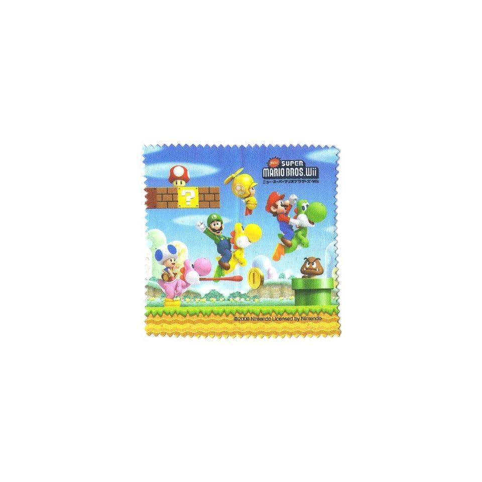 Grassy Plains Scenery Microfiber Cloth   New Super Mario Bros. Wii Screen Cleaner 3DS Wiper Epoch Nintendo Japan