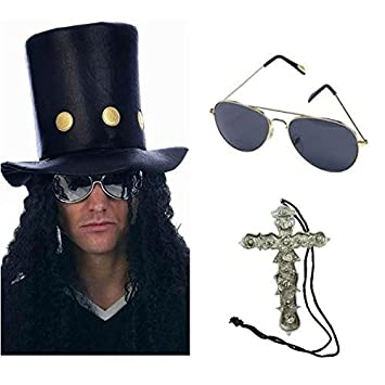 Slash Heavy Metal Rocker Hat with Wig, Sunglasses & Cross Necklace Fancy Dress by Blue