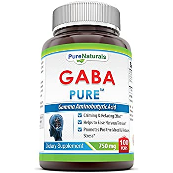 Pure Naturals Gamma Aminobutyric Acid (Gaba) Vegetarian Capsules, 750 Mg, 100 Count