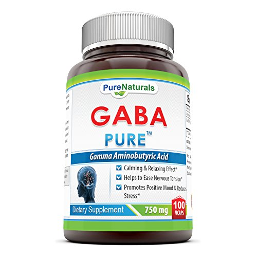 Pure Naturals GABA 750 Mg, Veggie Capsules -Promotes Positive Mood & Reduces Stress* -Helps to Ease Nervous Tension* -Calming & Relaxing Effect* (100Count)