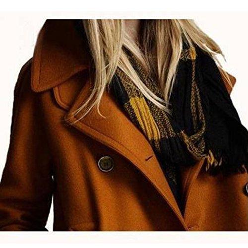 Manteau Fausse en Fourrure Jacket Coat Blouson Hiver Veste Chaud Mi Parka Femme Brun Long Veston Chic Laine Elegant mioim 0wqx75OFZ