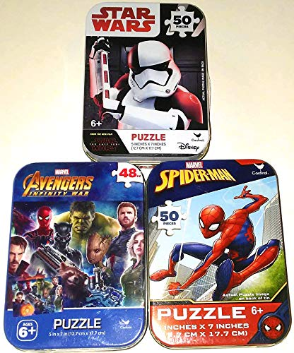 Bundle Set of 3 Mini Jigsaw Puzzles: Marvel Spiderman, Disney Star Wars Stormtrooper, Avengers Infinity War (with Groot) in Collectible Illustrated Travel Tins/Cases ()