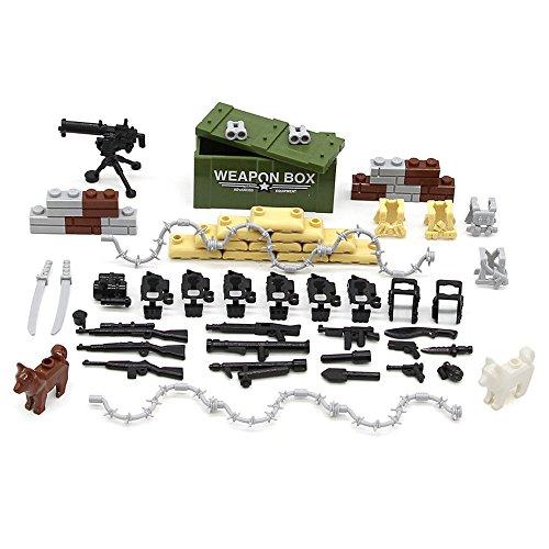 Feleph Military Accessories Set Guns Weapons Dog Modern SWAT Sandbag Body Armor WW2 Bricks Building Blocks Set Model Toys Compatible for Major Brands (Wwii Sandbag)