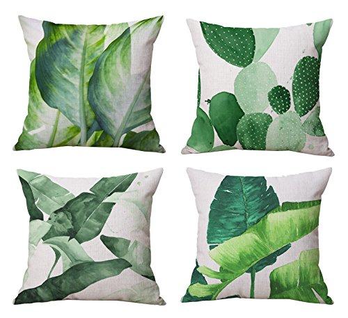 Modern Simple Plants Series Cotton & Linen Burlap Square Thr