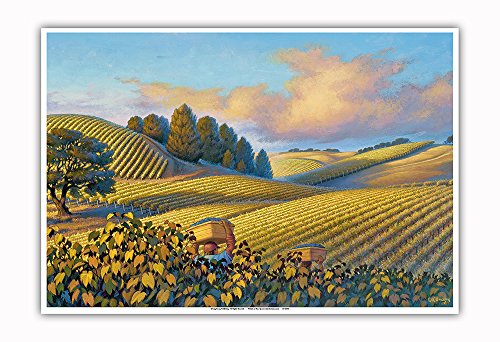 Pacifica Island Art Golden Vineyards - Wine Country Art by Kerne Erickson - Master Art Print - 13in x 19in