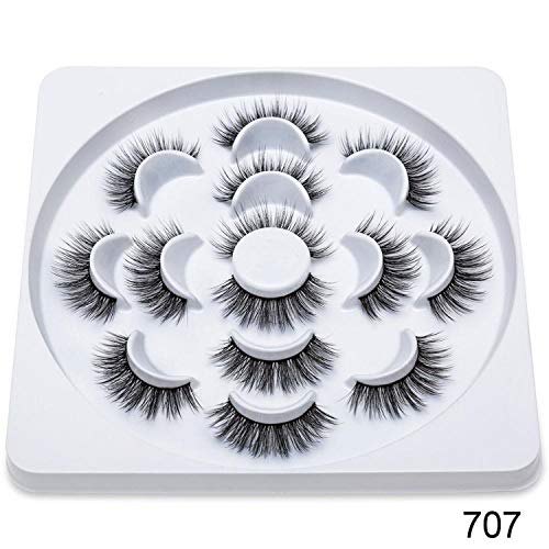 7Pairs Faux 3D Mink Lashes Natural Long False Eyelashes Dramatic Volume Fake Lashes Makeup Extension Eyelashes,707 -