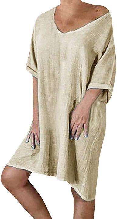 Vestido Vintage Mujer Sasstaids Casuales Falda Vestidos Mujer ...