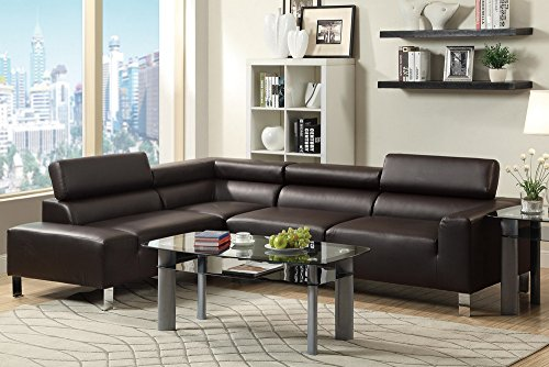 Poundex Bokona Miter Bonded Leather 2 Piece Sectional, (Espresso Leather Sectional Sofa)