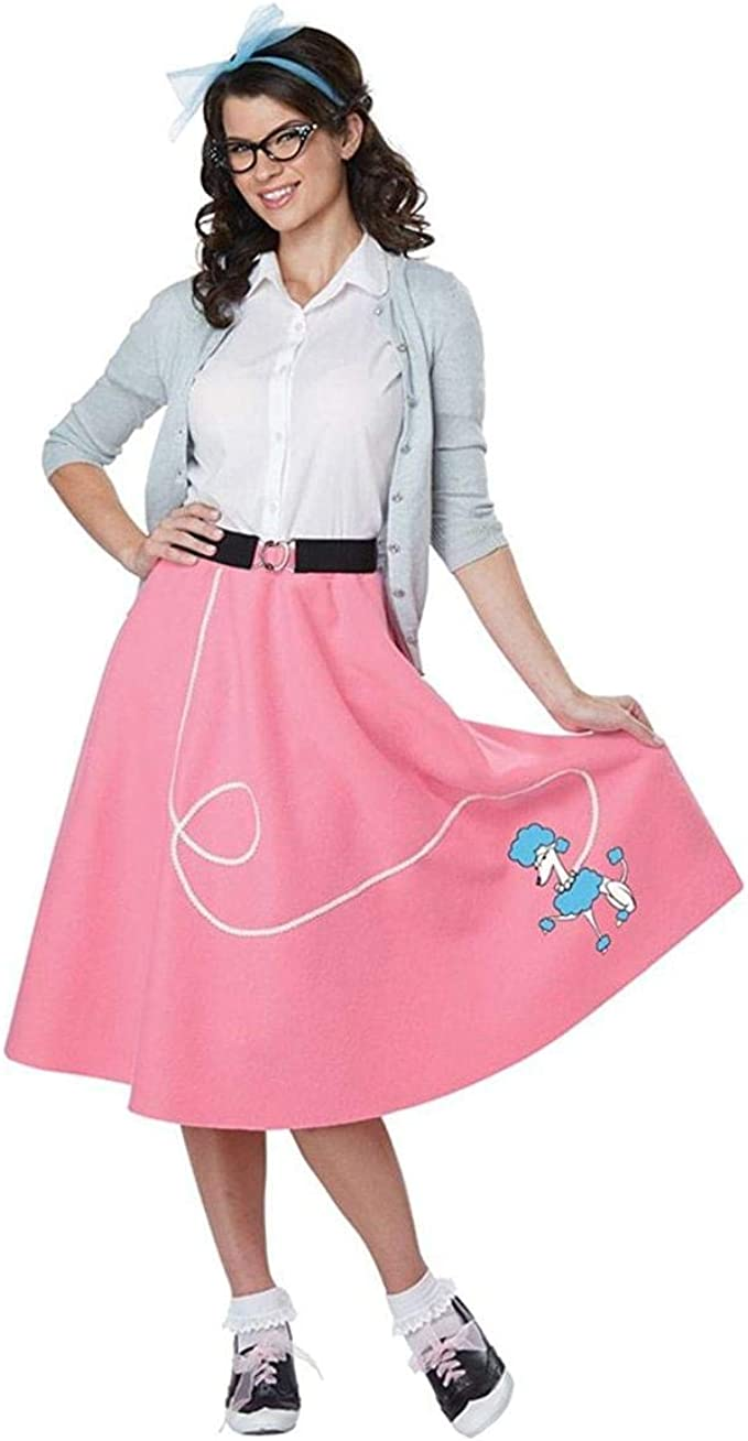 1950s Costumes- Poodle Skirts, Grease, Monroe, Pin Up, I Love Lucy California Costumes 50s Pink Poodle Skirt Adult Costume $27.99 AT vintagedancer.com