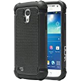 """Galaxy S4 Mini Case, ULAK Hybrid Case with Dual Shock Resistant Soft silicone Case Design and Hard PC Construction for Samsung Galaxy S4 Mini (4.3"""" inch) 2013 Release (Black)"""