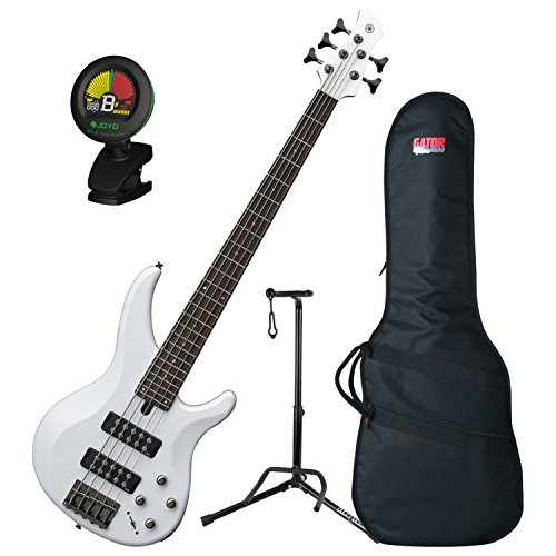 (Yamaha TRBX305 WH TRBX-305 White 5 String Bass Guitar w/ Gig Bag, Stand, and Tuner)
